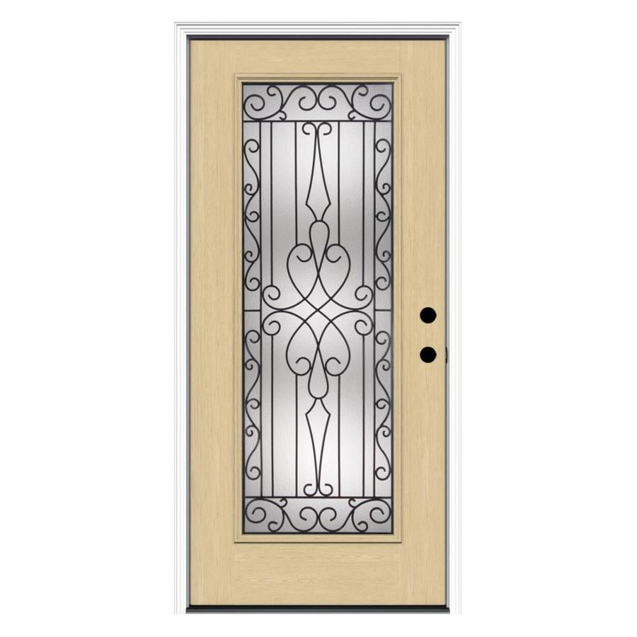 ReliaBilt Wyngate Decorative Glass Left-Hand Inswing Fiberglass Entry Door (Common: 36-in x 80-in; Actual: 37.5-in x 81.75-in)