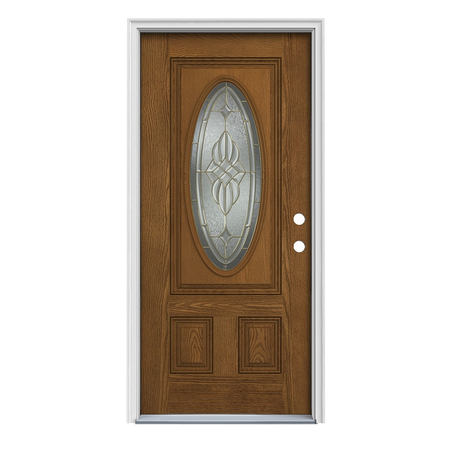 ReliaBilt Prescott Decorative Glass Left-Hand Inswing Fiberglass Prehung Entry Door with Insulating Core (Common: 36-in x 80-in; Actual: 37.5-in x 81.75-in)