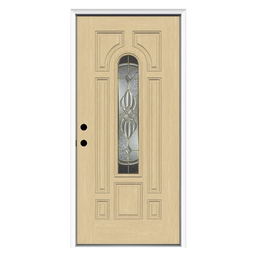 ReliaBilt Prescott Decorative Glass Right-Hand Inswing Fiberglass Prehung Entry Door with Insulating Core (Common: 36-in x 80-in; Actual: 37.5000-in x 81.7500-in)