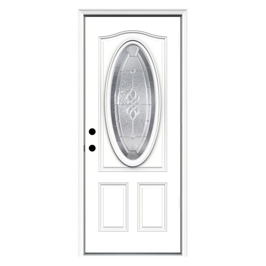 JELD-WEN Hampton 2-Panel Insulating Core Oval Lite Right-Hand Inswing Steel Primed Prehung Entry Door (Common: 32-in x 80-in; Actual: 33.5-in x 81.75-in)