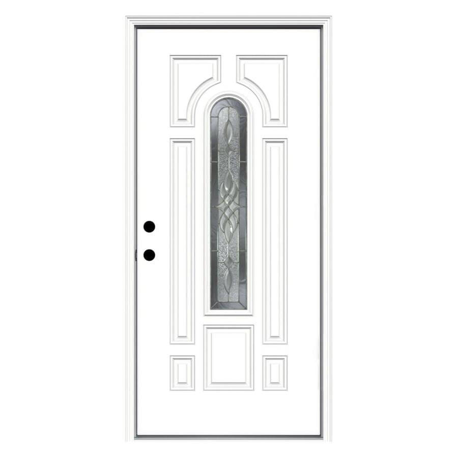 JELD-WEN Hampton 8-Panel Insulating Core Center Arch Lite Right-Hand Inswing Steel Primed Prehung Entry Door (Common: 36-in x 80-in; Actual: 37.5-in x 81.75-in)