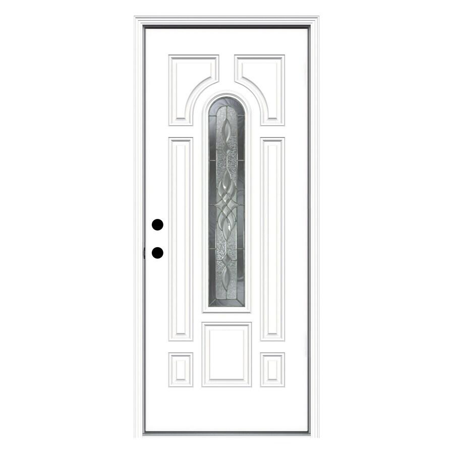 ReliaBilt 33.5-in x 81.75-in Center Arch Lite Prehung Inswing Steel Entry Door Prehung