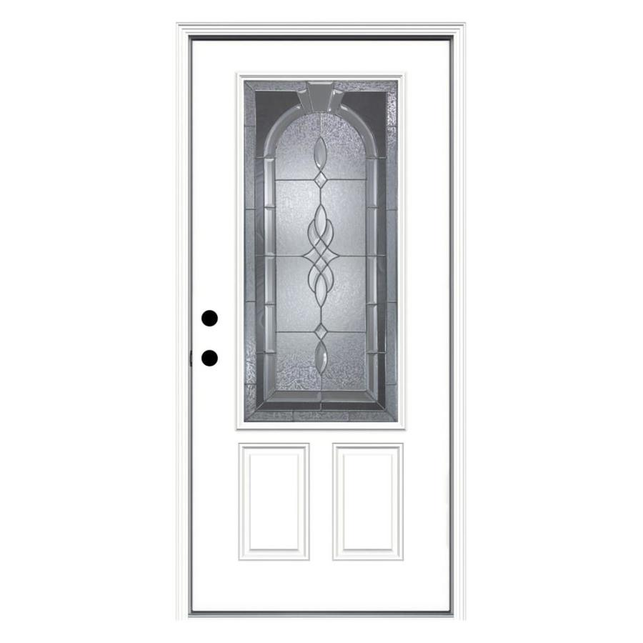JELD-WEN Hampton 2-Panel Insulating Core 3/4 Lite Right-Hand Inswing Steel Primed Prehung Entry Door (Common: 36-in x 80-in; Actual: 37.5-in x 81.75-in)
