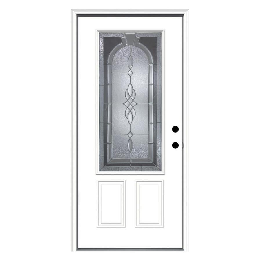 JELD-WEN Hampton Decorative Glass Left-Hand Inswing Primed Steel Prehung Entry Door with Insulating Core (Common: 36-in x 80-in; Actual: 37.5000-in x 81.7500-in)