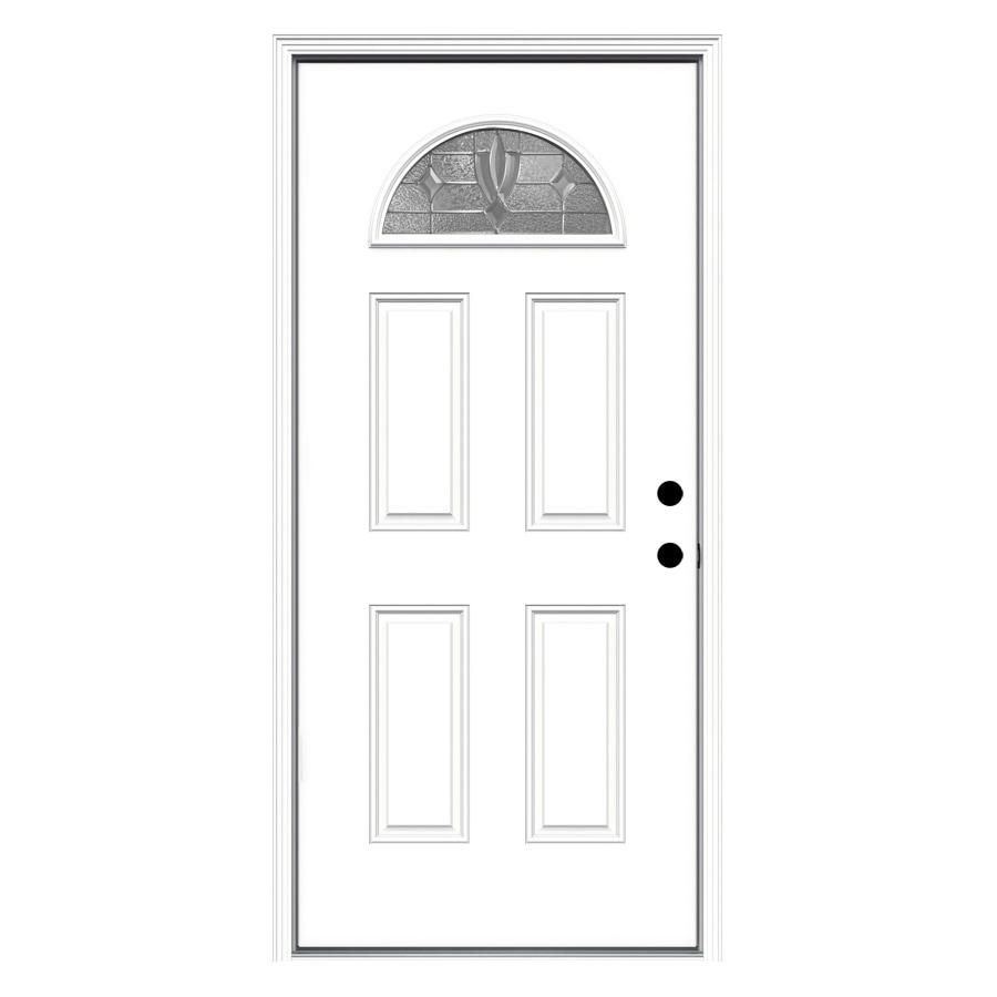 JELD-WEN Laurel 4-Panel Insulating Core Fan Lite Left-Hand Inswing Steel Primed Prehung Entry Door (Common: 36-in x 80-in; Actual: 37.5-in x 81.75-in)