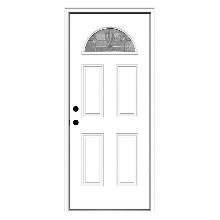 JELD-WEN Laurel 4-Panel Insulating Core Fan Lite Right-Hand Inswing Steel Primed Prehung Entry Door (Common: 32-in x 80-in; Actual: 33.5-in x 81.75-in)