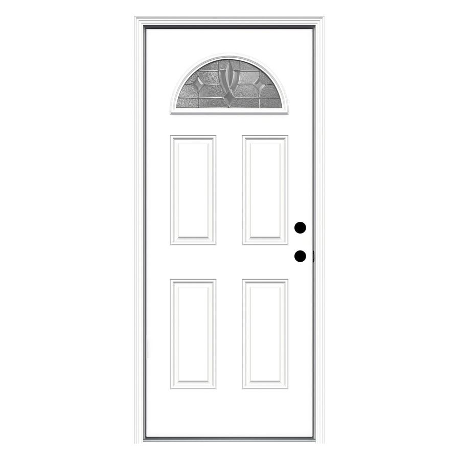 JELD-WEN Laurel 4-Panel Insulating Core Fan Lite Left-Hand Inswing Steel Primed Prehung Entry Door (Common: 32-in x 80-in; Actual: 33.5-in x 81.75-in)