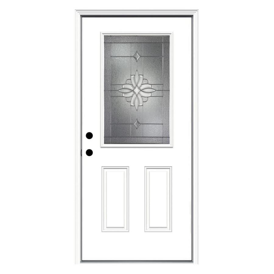 JELD-WEN Laurel Decorative Glass Right-Hand Inswing Primed Steel Prehung Entry Door with Insulating Core (Common: 36-in x 80-in; Actual: 37.5-in x 81.75-in)