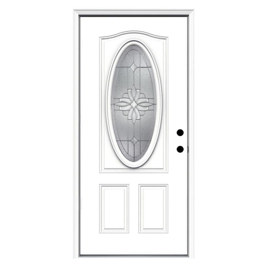 JELD-WEN Laurel Decorative Glass Left-Hand Inswing Primed Steel Prehung Entry Door with Insulating Core (Common: 36-in x 80-in; Actual: 37.5-in x 81.75-in)