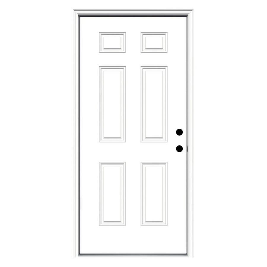 JELD-WEN 6-Panel Insulating Core Left-Hand Inswing Steel Primed Prehung Entry Door (Common: 36-in x 80-in; Actual: 37.5-in x 81.75-in)