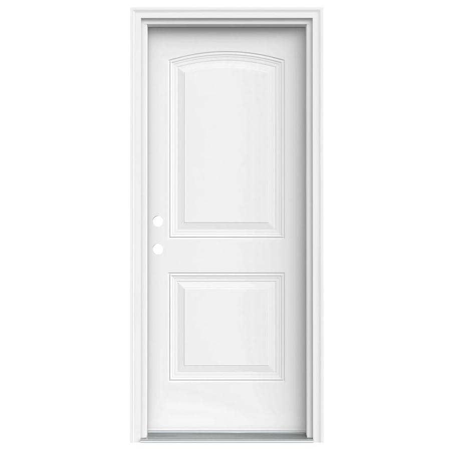 JELD-WEN Right-Hand Inswing Steel Primed Entry Door (Common: 32-in x 80-in; Actual: 33.5000-in x 81.7500-in)