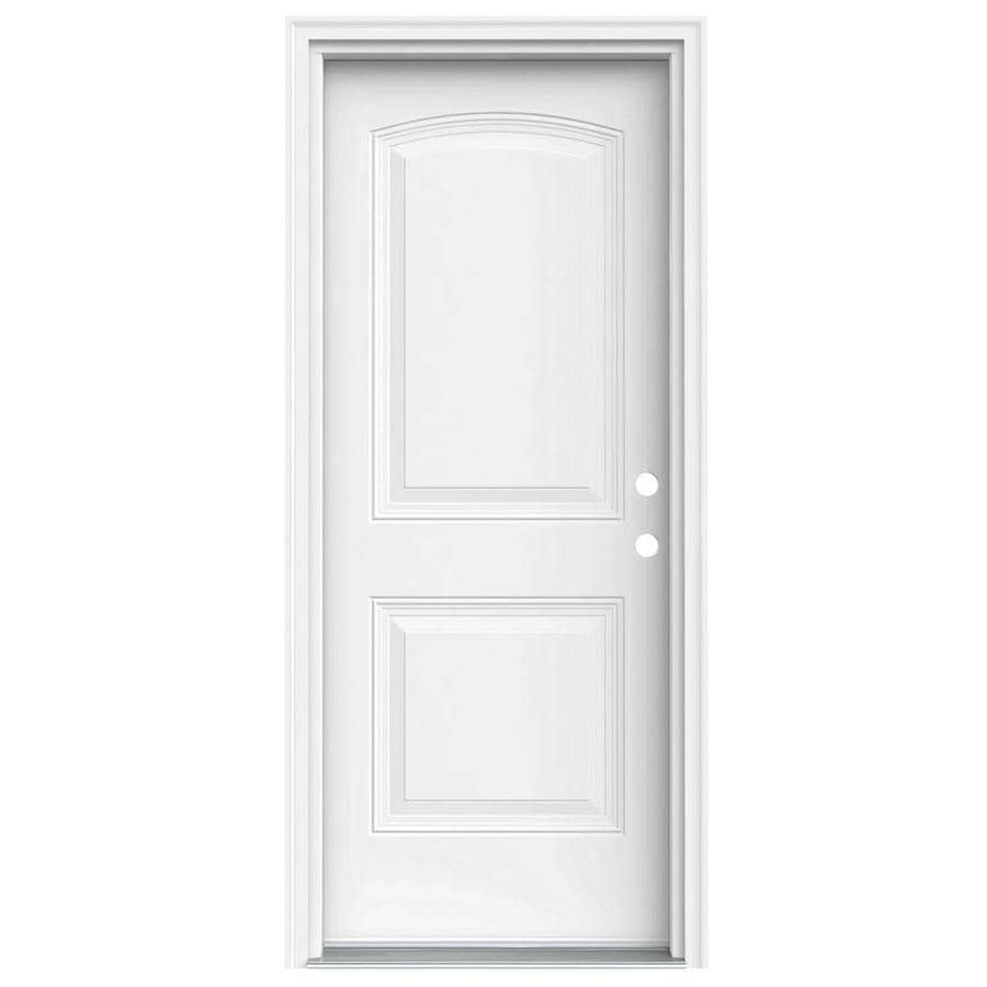 JELD-WEN 2-Panel Insulating Core Left-Hand Inswing Steel Primed Prehung Entry Door (Common: 32-in x 80-in; Actual: 33.5-in x 81.75-in)