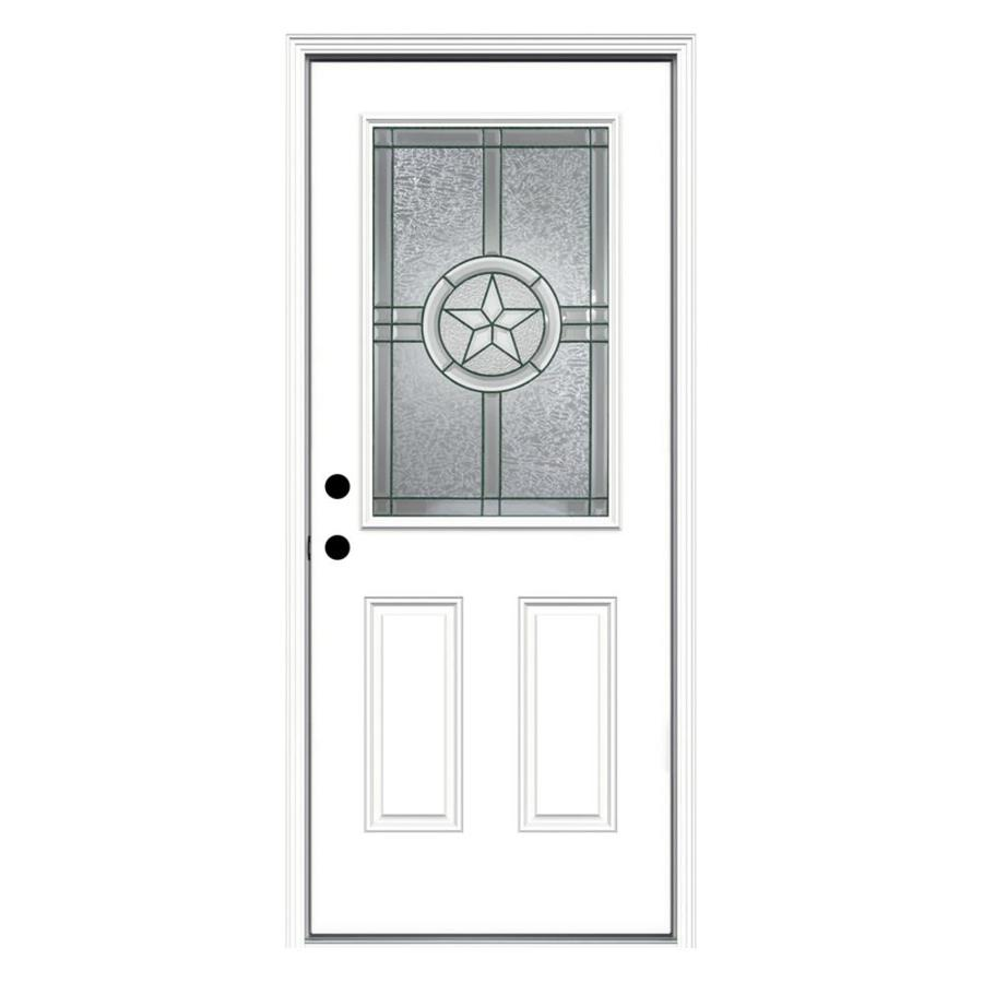 JELD-WEN Radiant Star 2-Panel Insulating Core Half Lite Right-Hand Inswing Steel Primed Prehung Entry Door (Common: 32-in x 80-in; Actual: 33.5-in x 81.75-in)