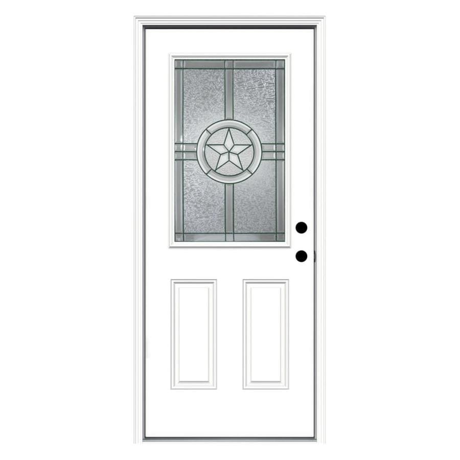 JELD-WEN Radiant Star Decorative Glass Left-Hand Inswing Primed Steel Prehung Entry Door with Insulating Core (Common: 32-in x 80-in; Actual: 33.5-in x 81.75-in)
