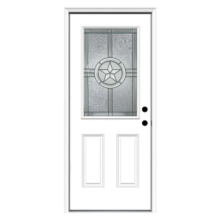 JELD-WEN Radiant Star 2-Panel Insulating Core Half Lite Left-Hand Inswing Steel Primed Prehung Entry Door (Common: 32-in x 80-in; Actual: 33.5-in x 81.75-in)