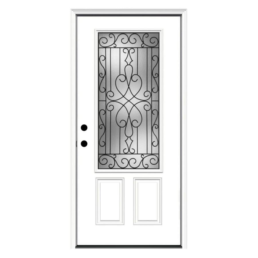 JELD-WEN Wyngate Decorative Glass Right-Hand Inswing Primed Steel Prehung Entry Door with Insulating Core (Common: 36-in x 80-in; Actual: 37.5000-in x 81.7500-in)
