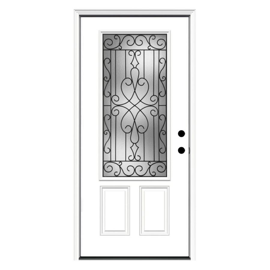 JELD-WEN Wyngate 2-Panel Insulating Core 3/4 Lite Left-Hand Inswing Steel Primed Prehung Entry Door (Common: 36-in x 80-in; Actual: 37.5-in x 81.75-in)