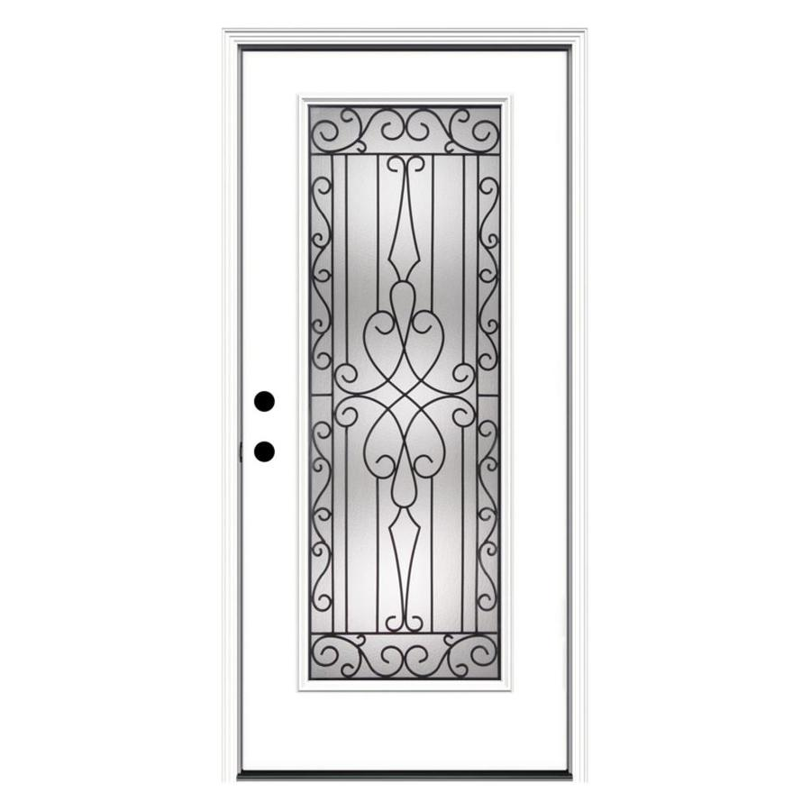 JELD-WEN Wyngate Decorative Glass Right-Hand Inswing Steel Primed Entry Door (Common: 36-in x 80-in; Actual: 37.5-in x 81.75-in)