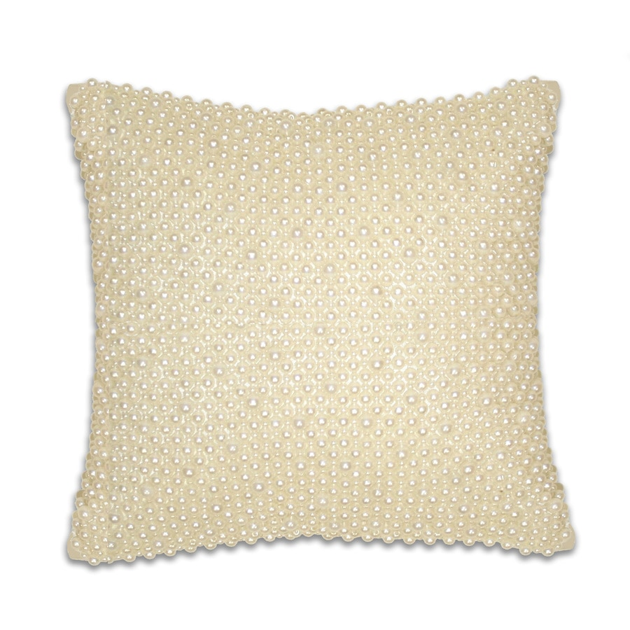 12-in W x 12-in L Ivory Square Indoor Decorative Pillow