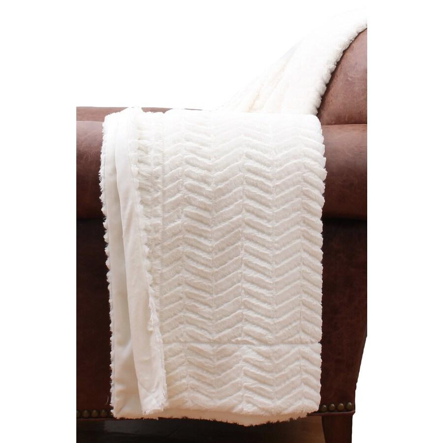 allen + roth Antique White 50-in L x 60-in W Polyester Throw