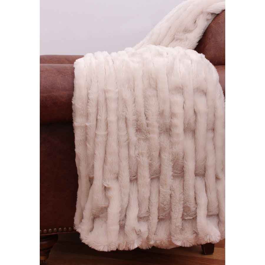 Josephine Faux Fur Hummus 60-in L x 50-in W Polyester Throw