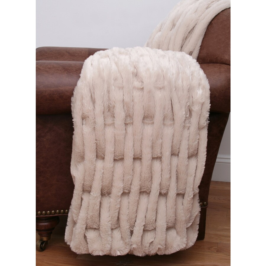 Josephine Faux Fur Oatmeal 60-in L x 50-in W Polyester Throw