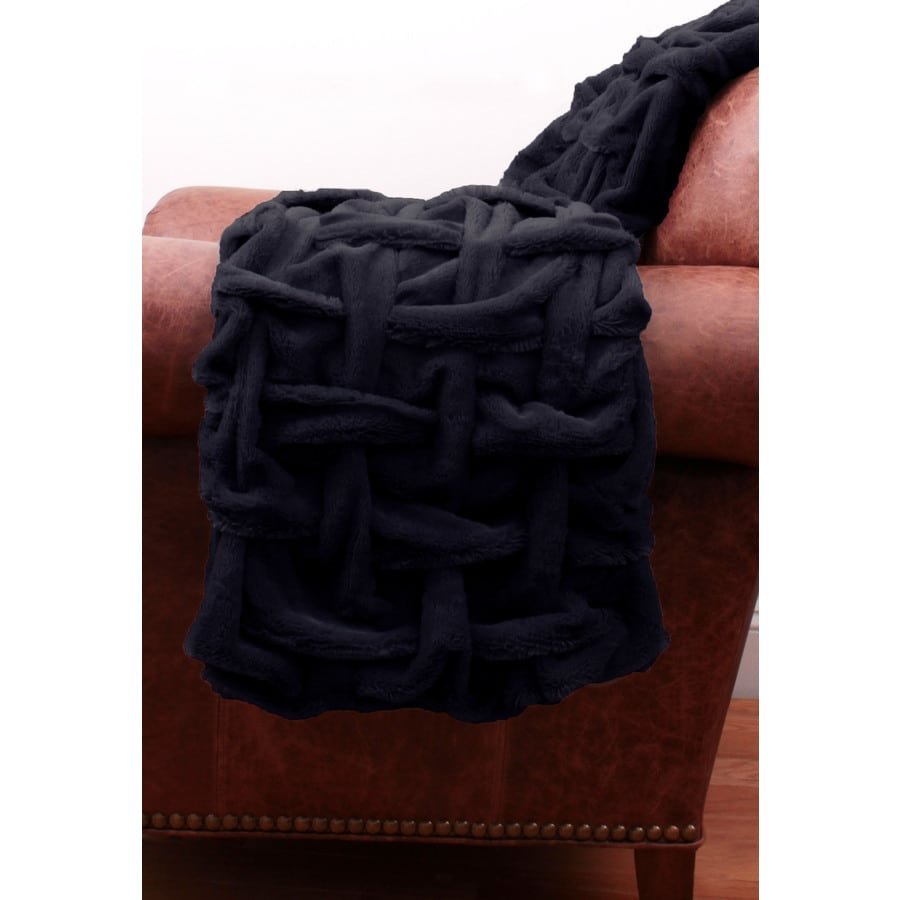 Paloma Faux Fur Navy 60-in L x 50-in W Polyester Throw