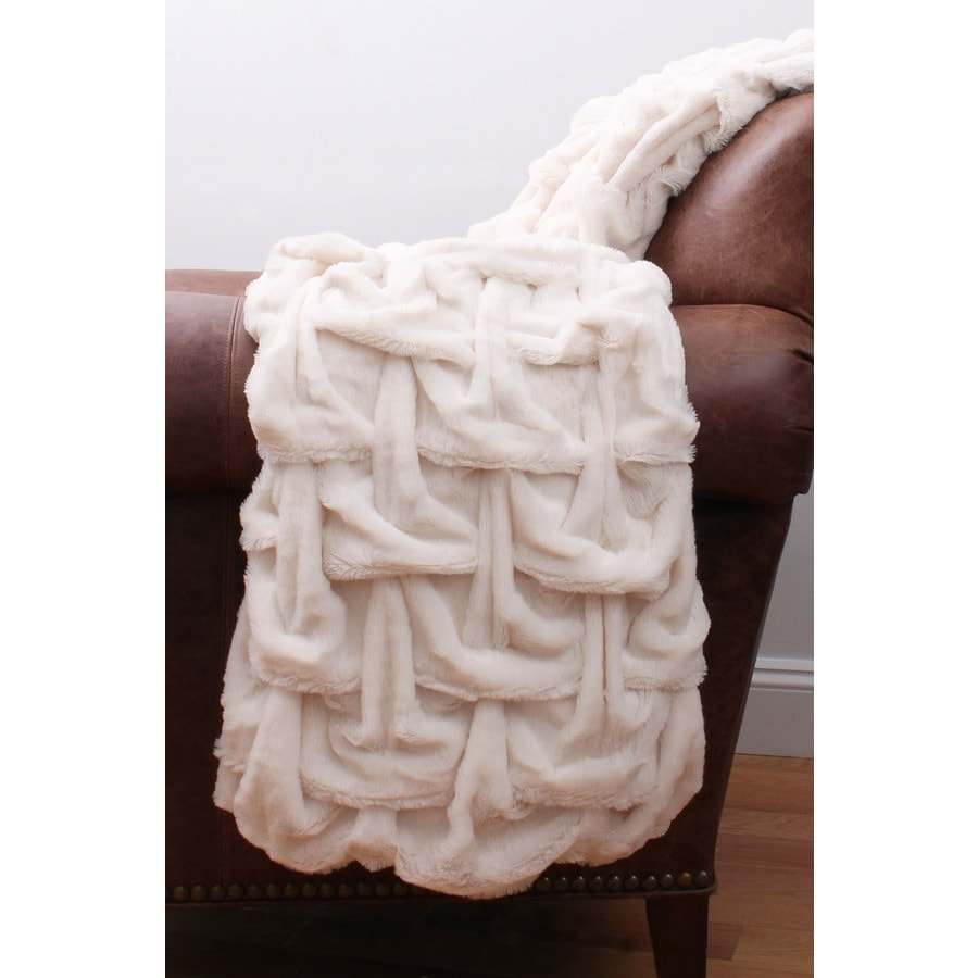 Paloma Faux Fur Antique White 60-in L x 50-in W Polyester Throw
