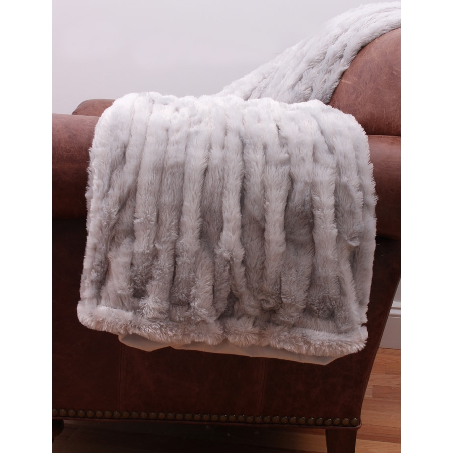 Josephine Faux Fur Vapor 60-in L x 50-in W Polyester Throw