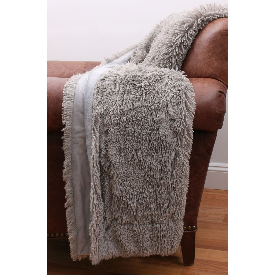 Chubby Faux Fur Silver 60-in L x 50-in W Polyester Throw