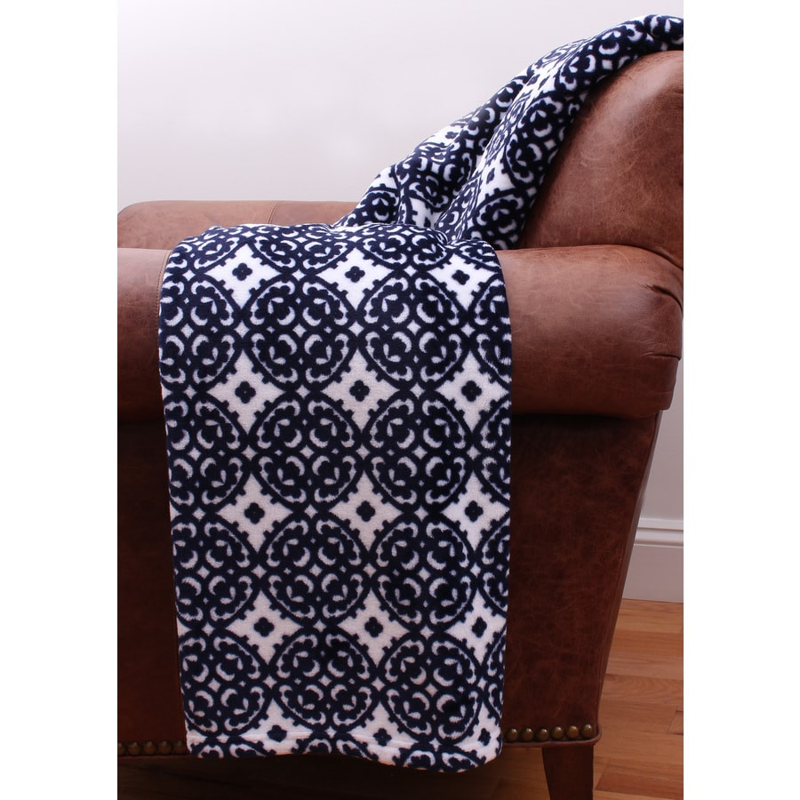 Navy 60-in L x 50-in W Polyester Throw