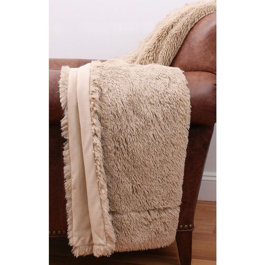 Chubby Faux Fur Oatmeal 60-in L x 50-in W Polyester Throw