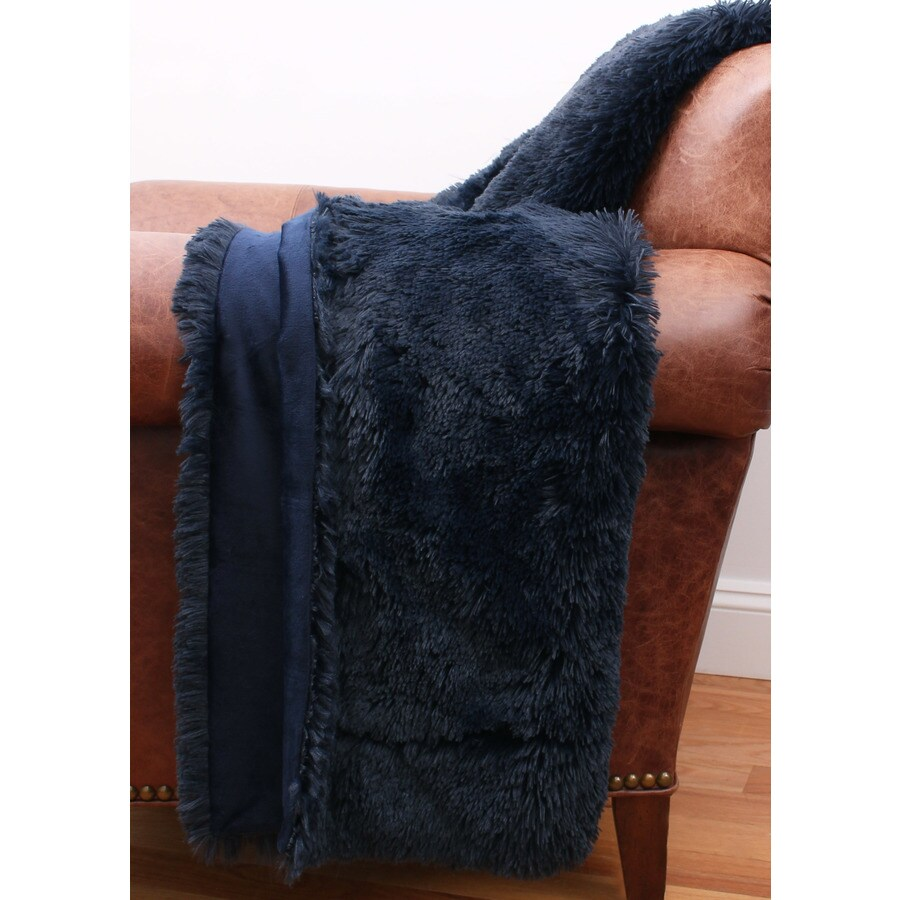 Chubby Faux Fur Navy 60-in L x 50-in W Polyester Throw