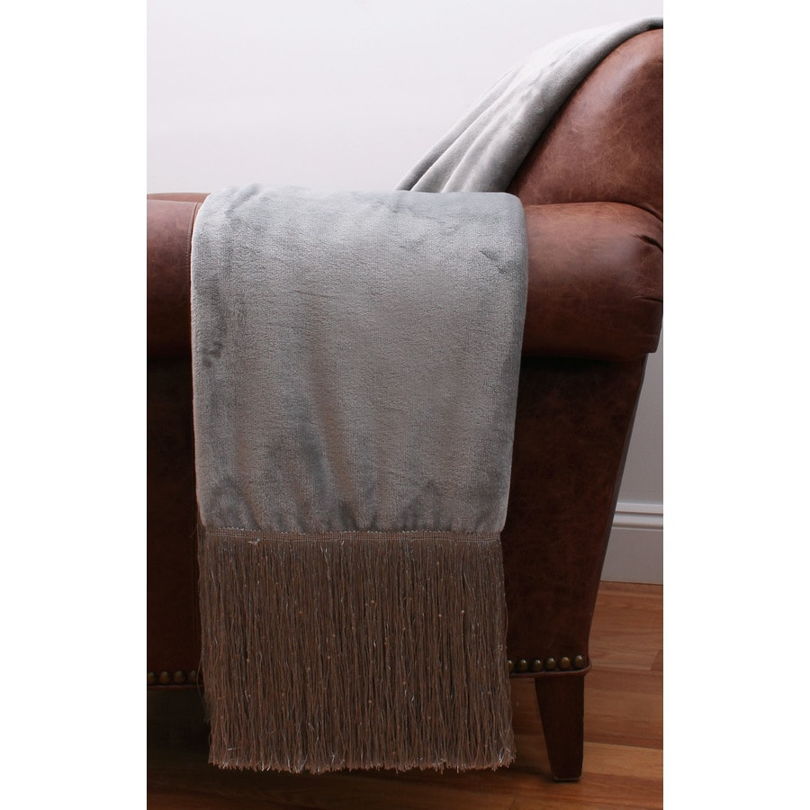 Francesca Fringe Silver 60-in L x 50-in W Polyester Throw