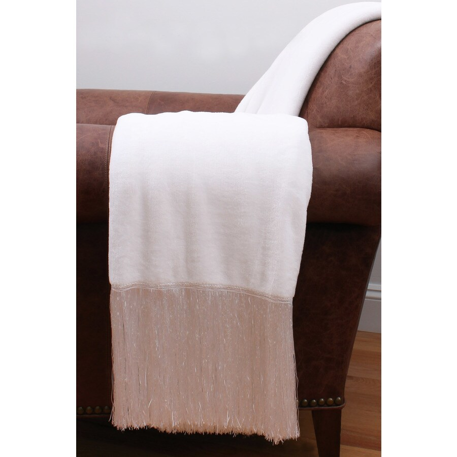 Francesca Fringe White 60-in L x 50-in W Polyester Throw