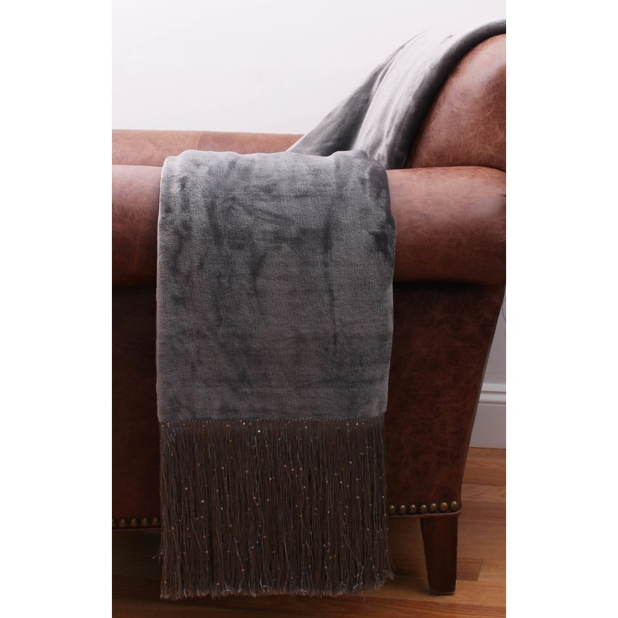 Francesca Fringe Charcoal 60-in L x 50-in W Polyester Throw