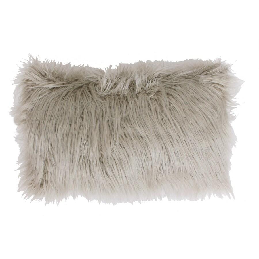 Keller Faux Mongolian 20-in W x 12-in L Oatmeal Indoor Decorative Pillow