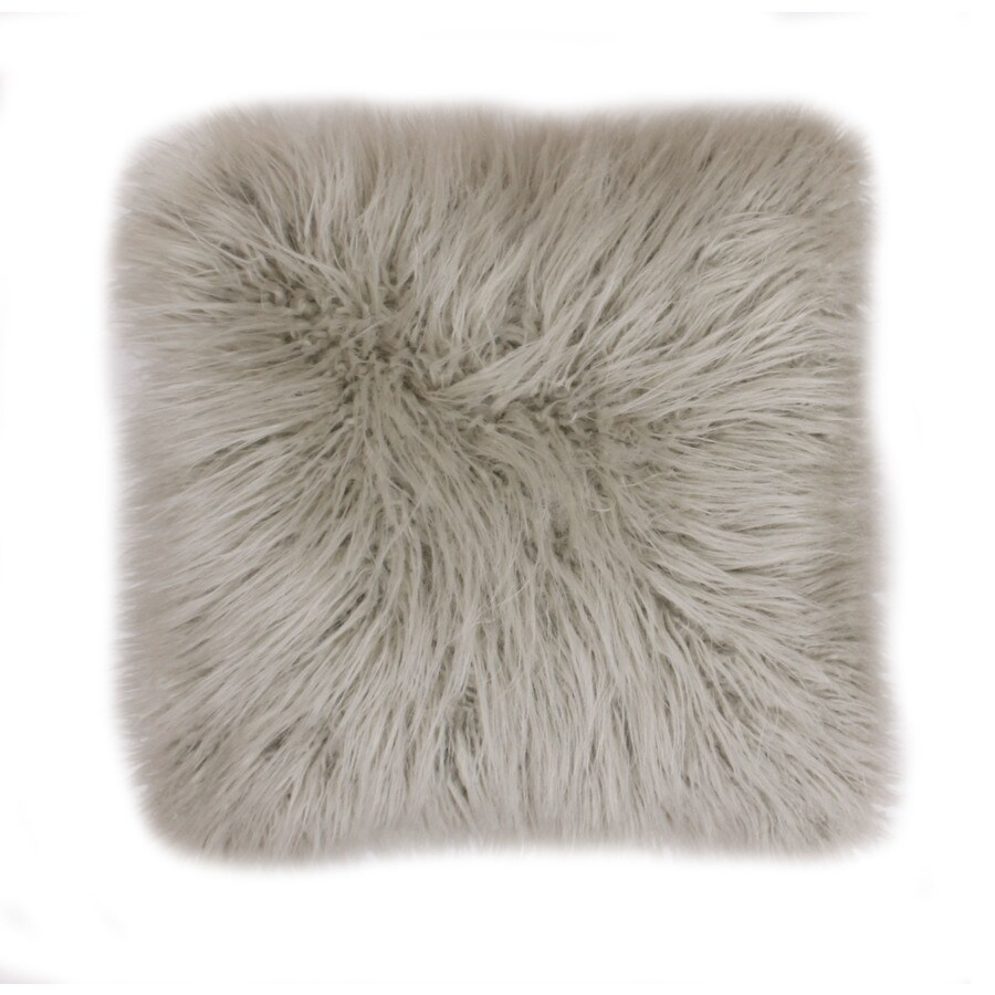 Keller Faux Mongolian 16-in W x 16-in L Oatmeal Indoor Decorative Pillow