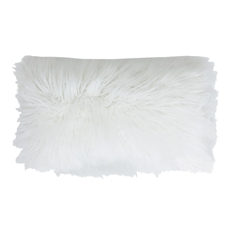 Keller Faux Mongolian 20-in W x 12-in L White Indoor Decorative Pillow
