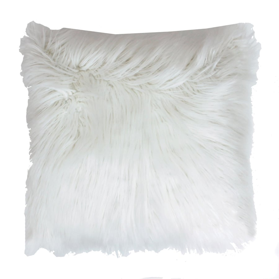 Shop Keller Faux Mongolian 16-in W x 16-in L White Square Indoor Decorative Pillow at Lowes.com