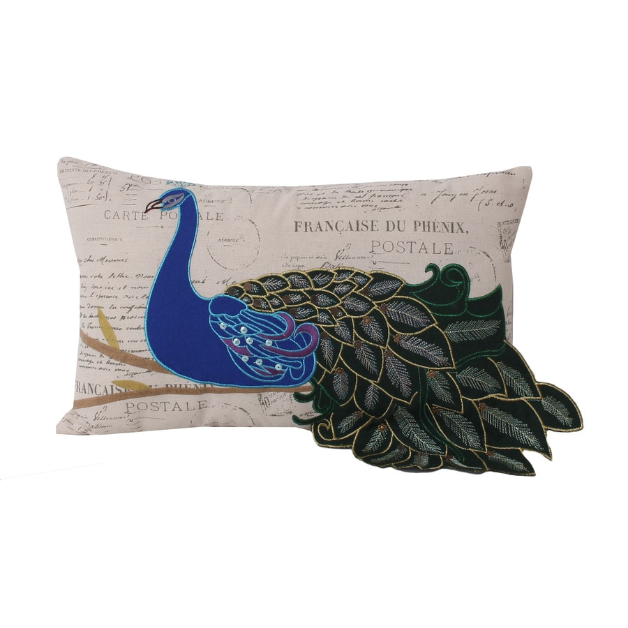 Postcard Peacock 20-in W x 12-in L Multi Rectangular Indoor Decorative Pillow