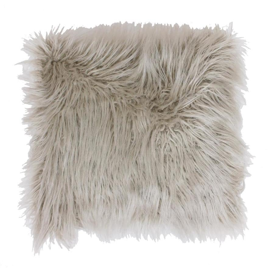 Keller Faux Mongolian 26-in W x 26-in L Oatmeal Square Indoor Decorative Pillow