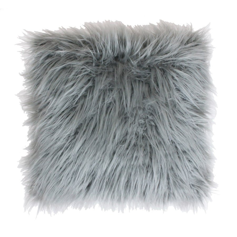 Keller Faux Mongolian 26-in W x 26-in L Silver Square Indoor Decorative Pillow