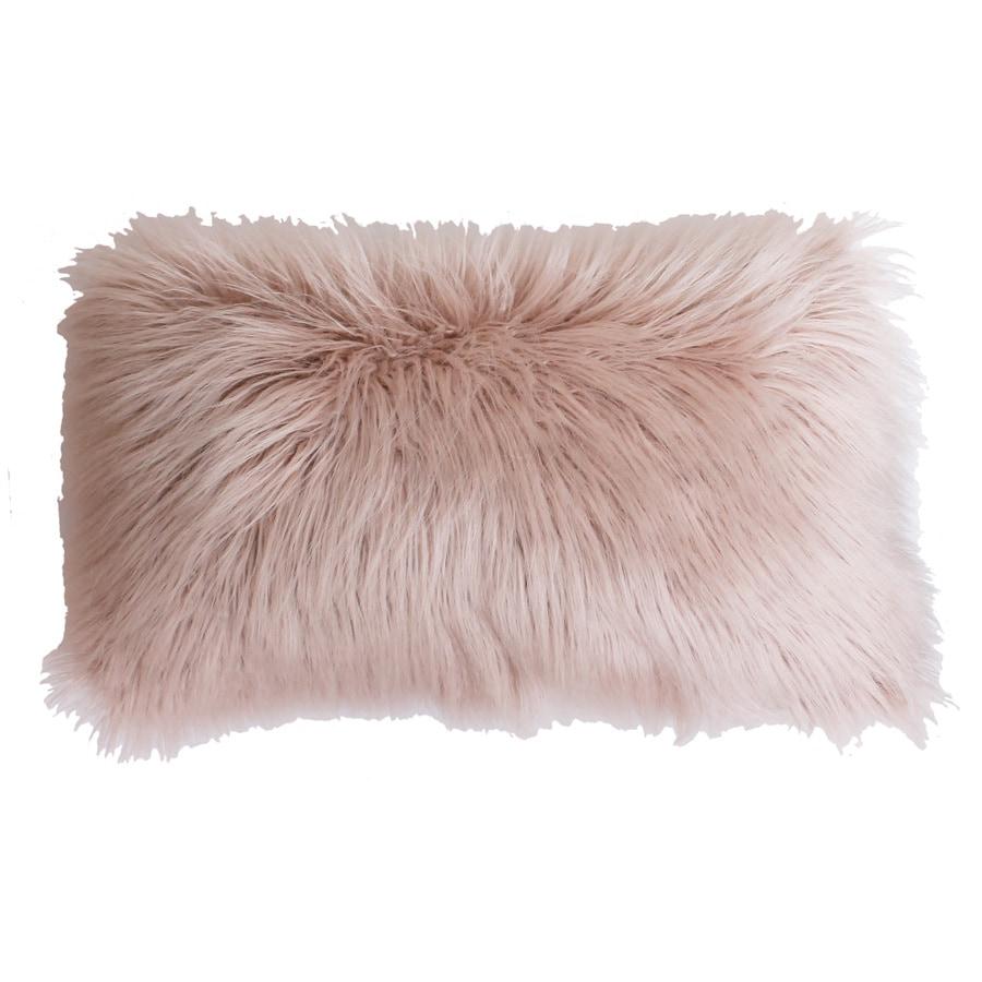 Keller Faux Mongolian 20-in W x 12-in L Rose Smoke Rectangular Indoor Decorative Pillow