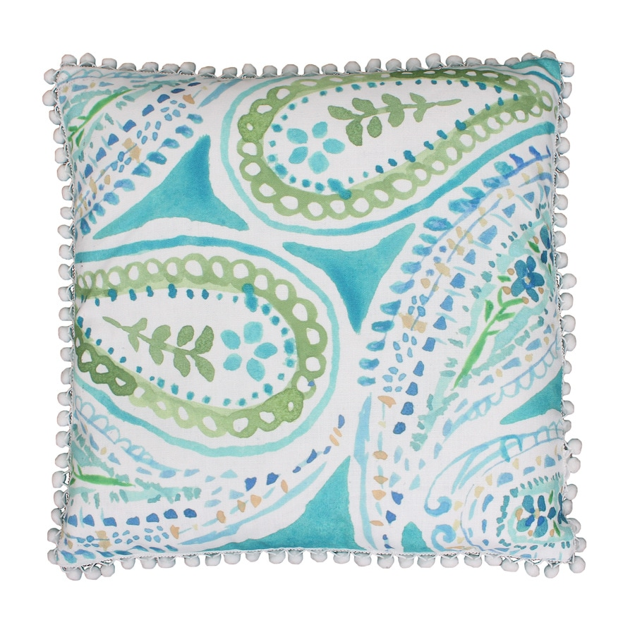 20-in W x 20-in L Blue Green Square Indoor Decorative Pillow