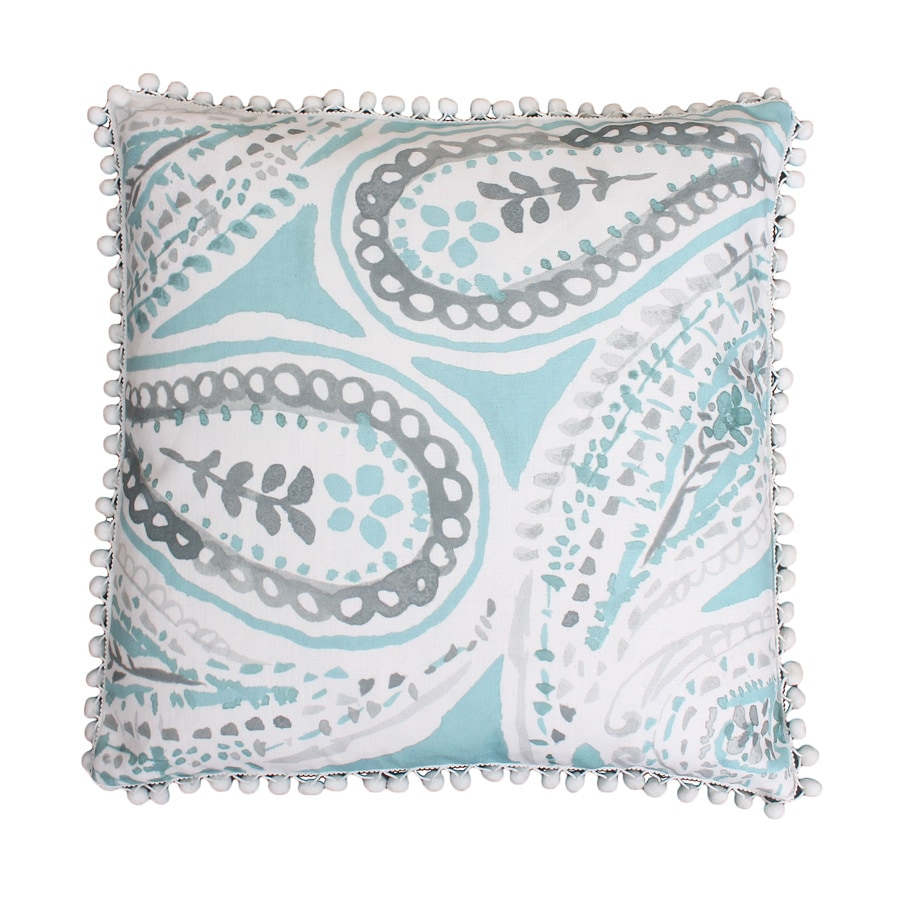 20-in W x 20-in L Nile Blue Square Indoor Decorative Pillow