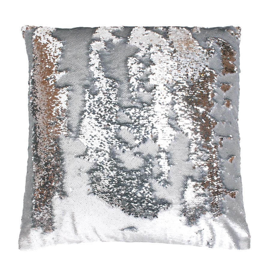 Melody Mermaid Reversible Sequins 20-in W x 20-in L Silver Indoor Decorative Pillow