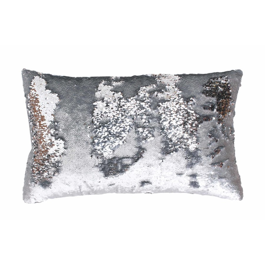 Melody Mermaid Reversible Sequins 20-in W x 12-in L Silver Indoor Decorative Pillow