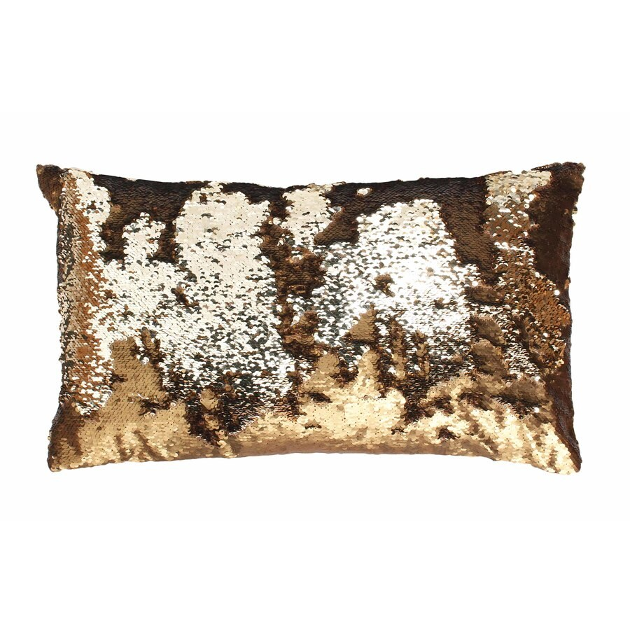 Melody Mermaid Reversible Sequins 20-in W x 12-in L Copper Indoor Decorative Pillow