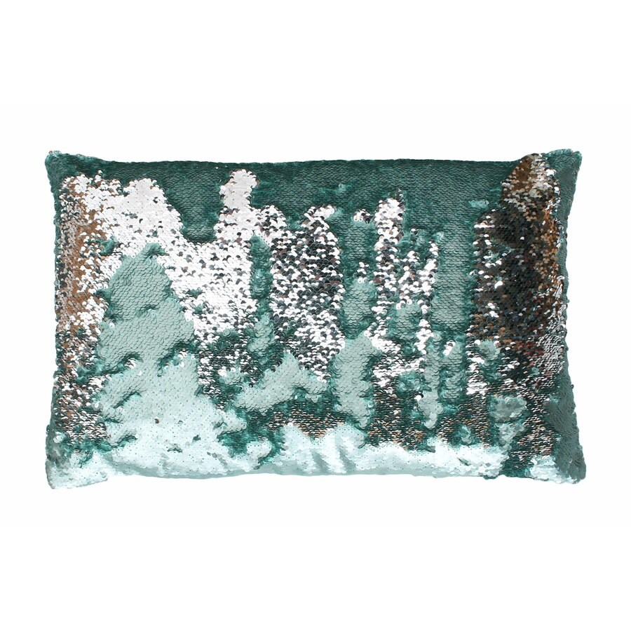 Melody Mermaid Reversible Sequins 20-in W x 12-in L Harbor Silver Indoor Decorative Pillow